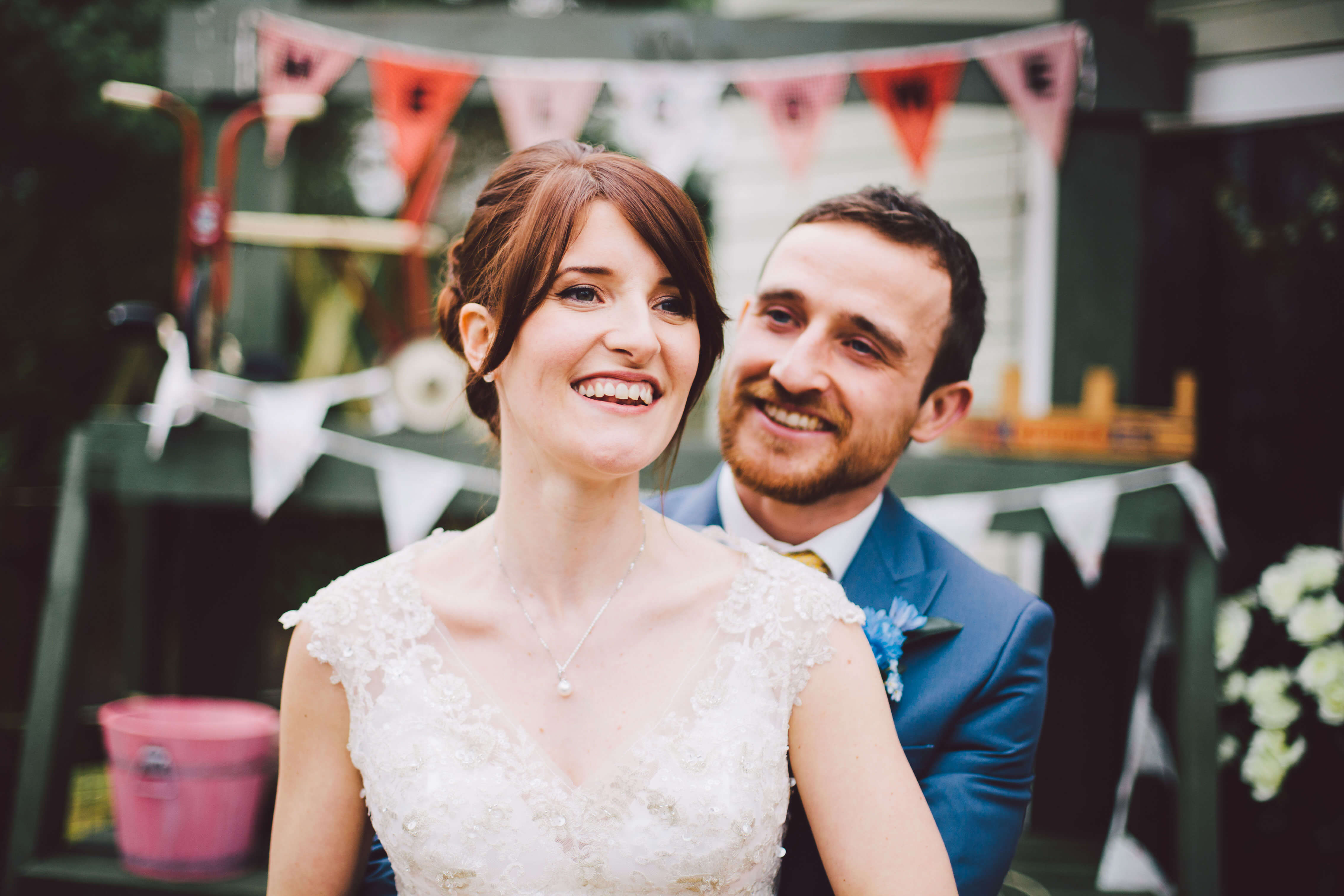 Rainbow themed wedding with couple