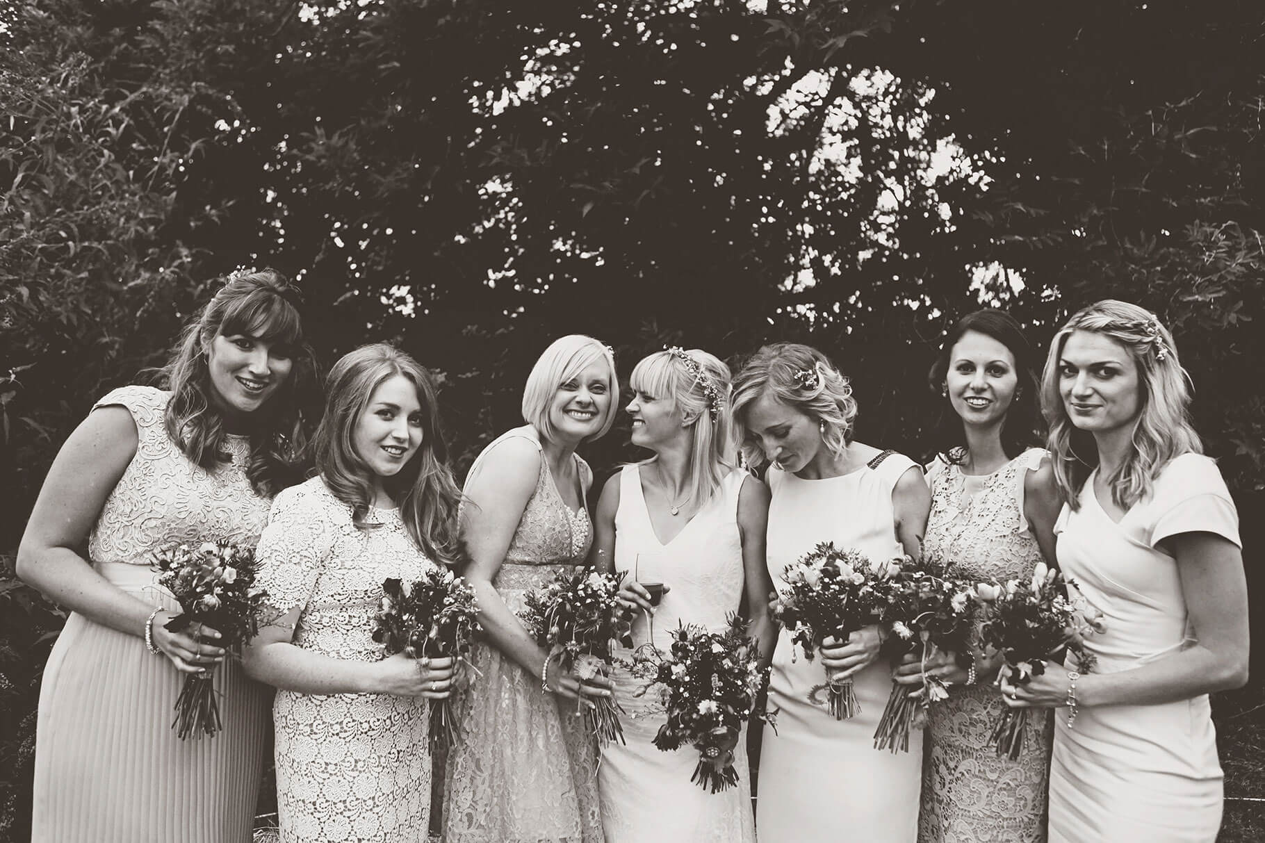 Black and White Photograph of Bridesmaids