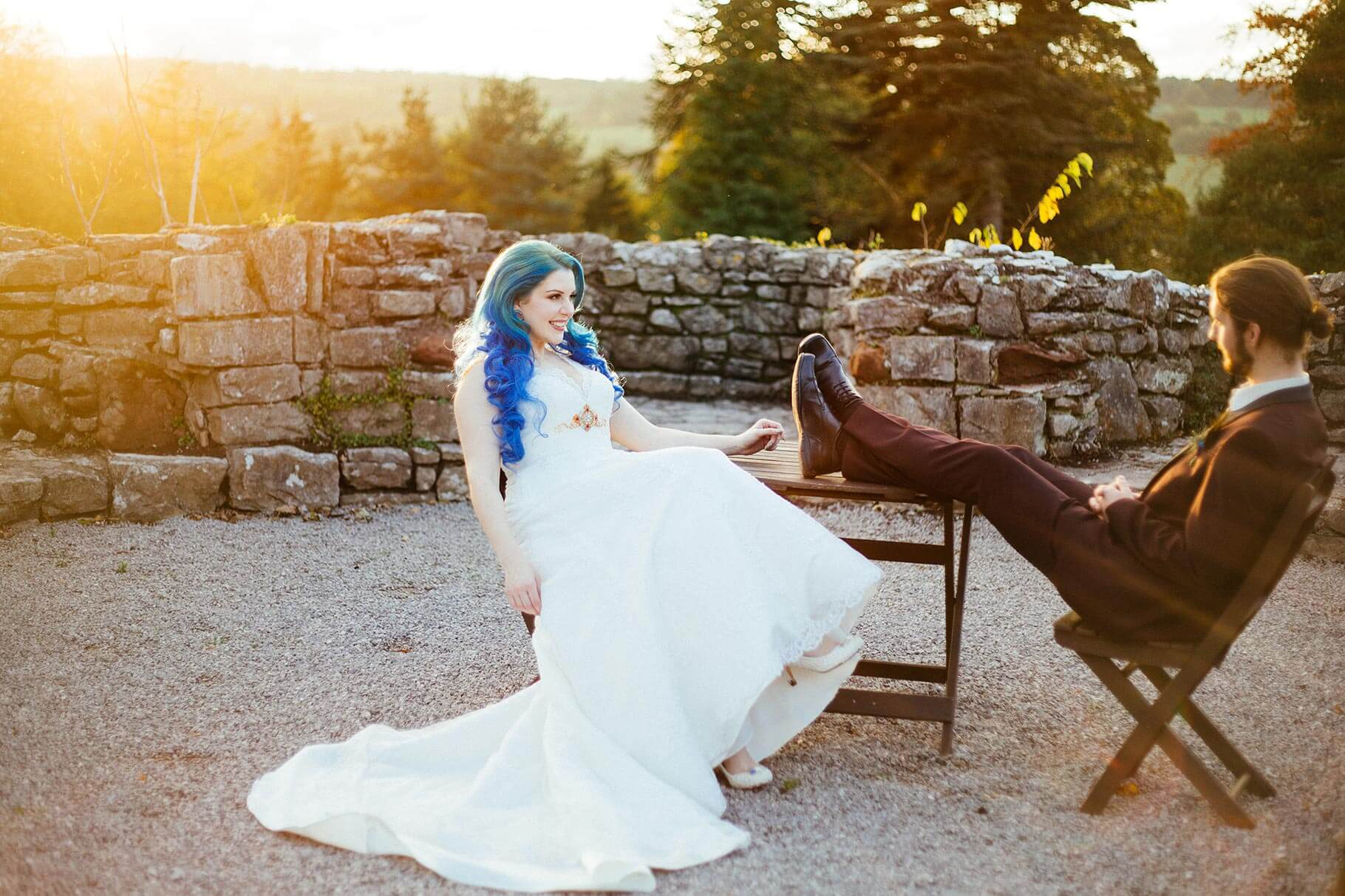 Sunset photo of wedding couple