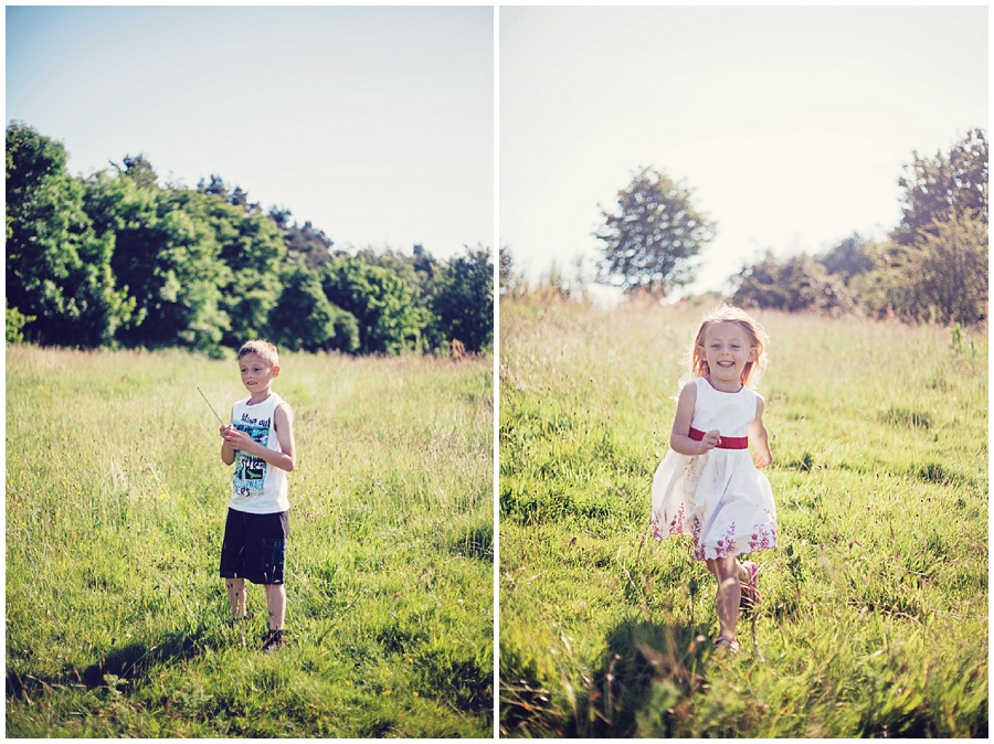 Photography of children playing in field
