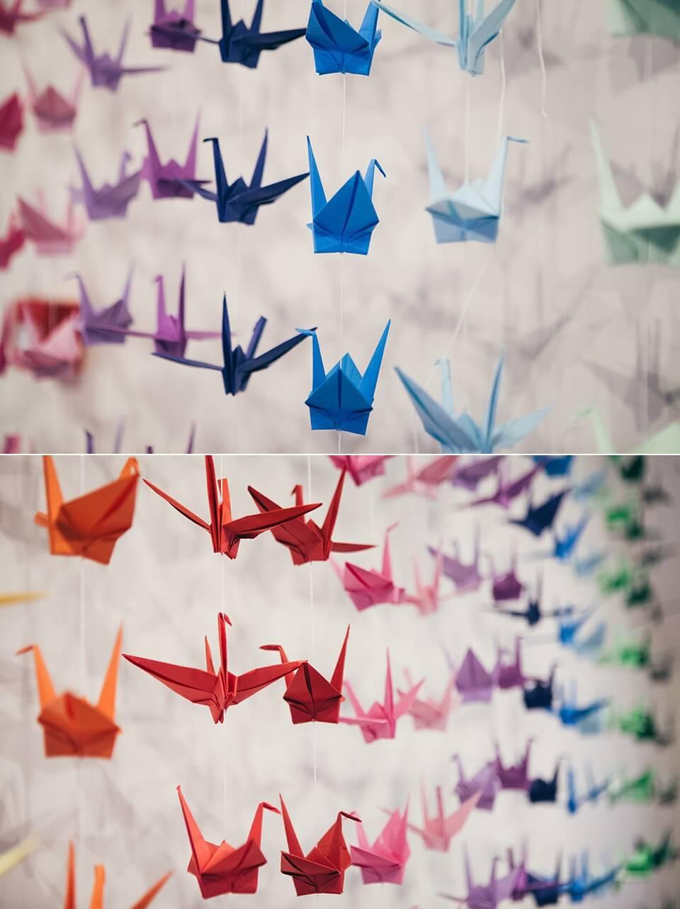 Rainbow Themed Wedding - Origami paper cranes