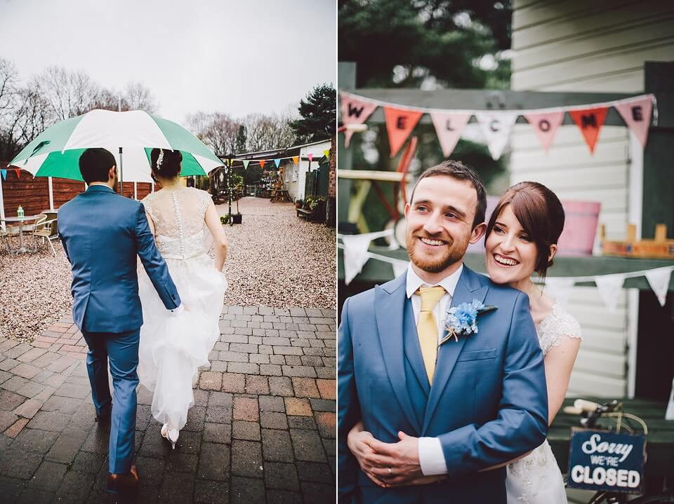 Bride and Groom Portrait Photography Rainbow Themed Wedding in the Rain