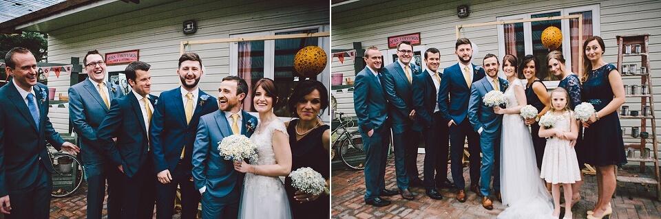 Fun Bridal Party Portrait Photography Rainbow Themed Wedding in the Rain