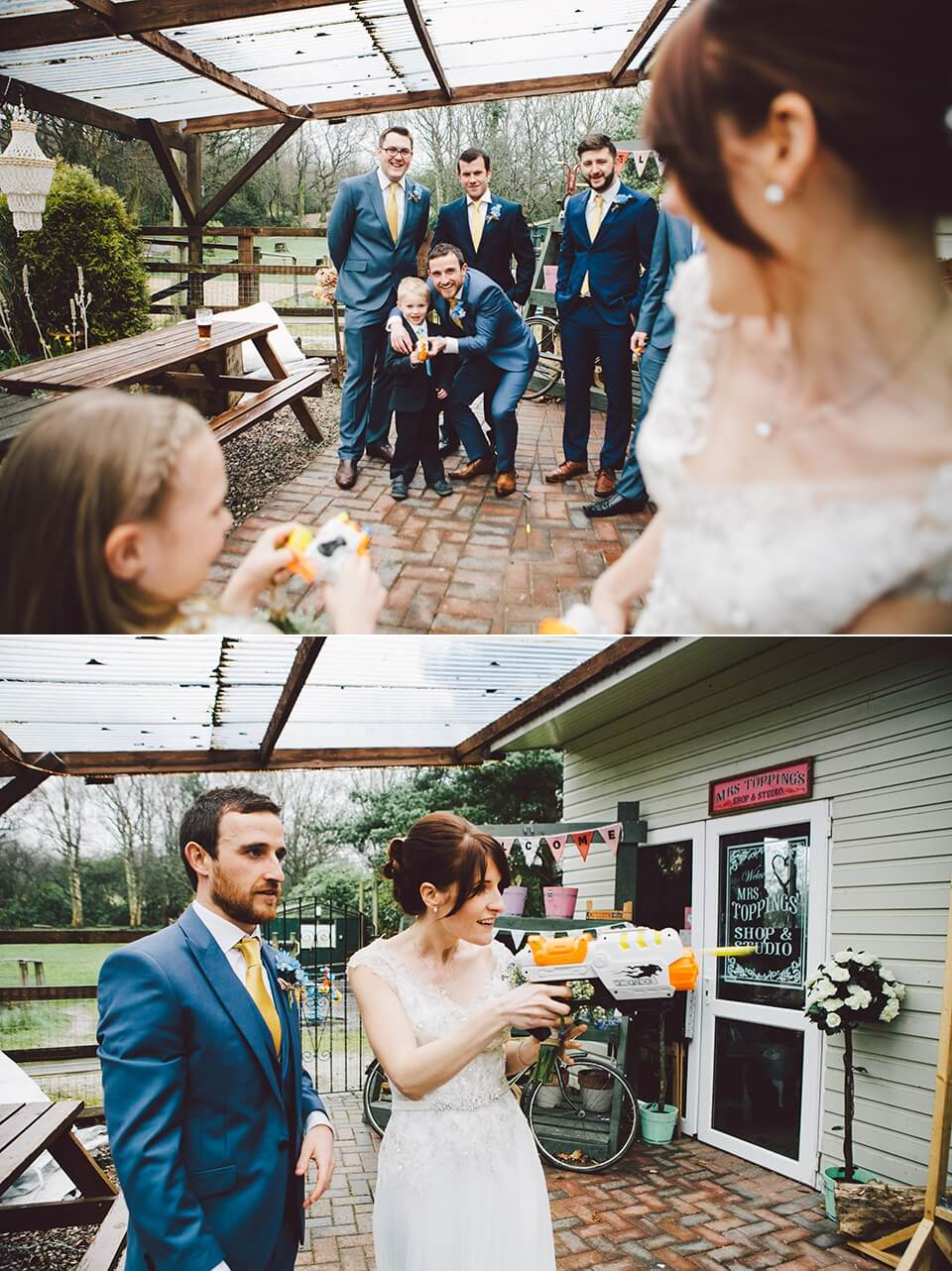 Fun Bridal Party Portrait Photography Rainbow Themed Wedding in the Rain