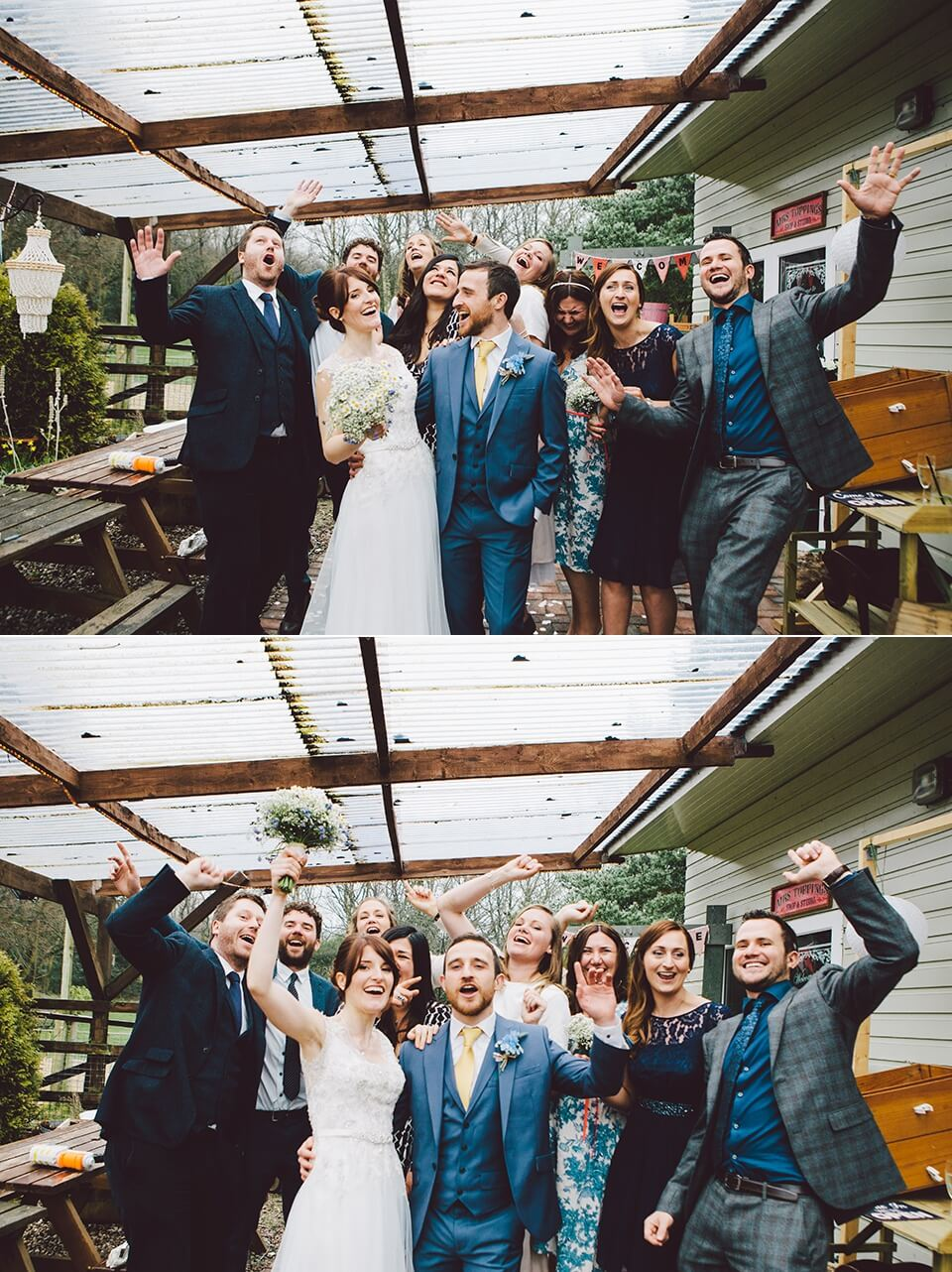 Fun Wedding Formals Portrait Photography Rainbow Themed Wedding in the Rain